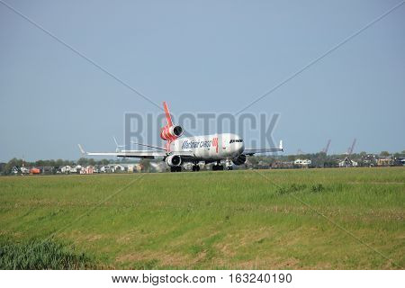 Amsterdam the Netherlands - May11th 2015: PH-MCU Martinair Holland McDonnell Douglas MD-11 on Polderbaan runway. Martin Air is based in Amsterdam and was founded in 1958 Since 2014 Martinair operates primarily as a cargo airline.