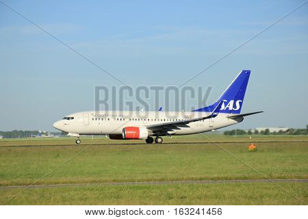 Amsterdam the Netherlands - June 9th 2016: SE-REY SAS Scandinavian Airlines Boeing 737-76N(WL) takeoff from Polderbaan runway destination Stockholm Sweden