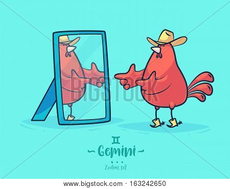Zodiac sign gemini. Rooster and mirror. Zodiac greeting card background poster. Vector illustration. Horoscope Sign