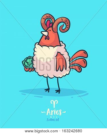 Zodiac sign aries. Rooster and cabbage. Zodiac greeting card background poster. Vector illustration. Horoscope Sign