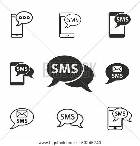 SMS vector icons set. Illustration isolated for graphic and web design.