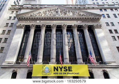 New York, United States of America - November 18, 2016: Facade of the Stock Exchange buidling on Wall Street