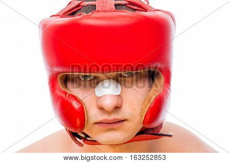 Serious Boxers Face In A Red Helmet Isolated