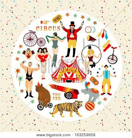 Circus. Vintage icons collection. The strong man, The siamese twins, The Circus Entertainer, The Circus Air Acrobat, The Snake Lady, The Juggler. Vector illustration.