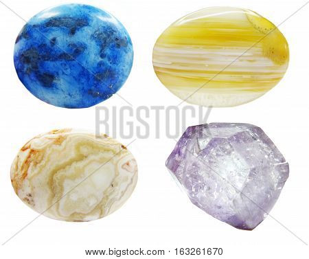 blue lazurite agate chalcedony jasper collage semiprecious geological minerals isolated