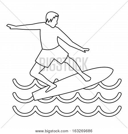 Man with surfboard icon. Outline illustration of man with surfboard vector icon for web