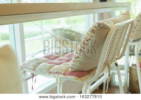 Bar Stool With Pillow Cushion Flowers Pattern Interior Decoration In Cafe