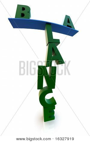 Balance In Green Over White Background