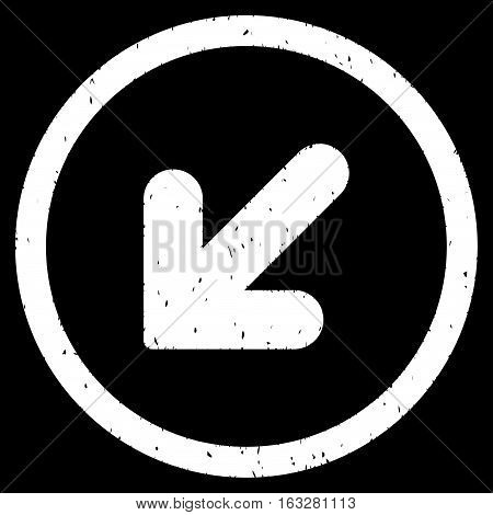 Arrow Down Left rubber seal stamp watermark. Icon vector symbol with grunge design and corrosion texture. Scratched white ink sign on a black background.