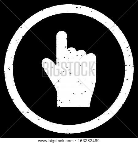 Index Finger Up Direction rubber seal stamp watermark. Icon vector symbol with grunge design and dirty texture. Scratched white ink sticker on a black background.