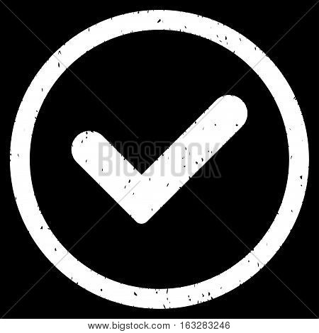 Yes rubber seal stamp watermark. Icon vector symbol with grunge design and unclean texture. Scratched white ink sticker on a black background.