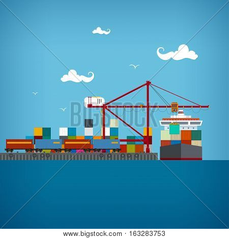 Sea port unloading of cargo containers from the container carriercranes load containers on the container ship or unload cargo the train transports containers sea freight transportation