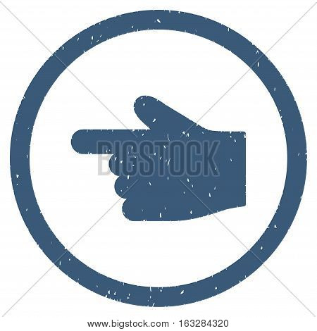 Index Finger Left Direction rubber seal stamp watermark. Icon vector symbol with grunge design and unclean texture. Scratched blue ink emblem on a white background.