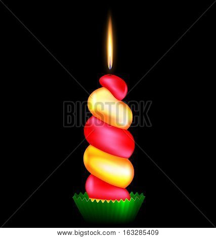black background and the large red yellow burning candle
