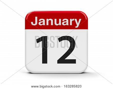 Calendar web button - The Twelfth of January three-dimensional rendering 3D illustration
