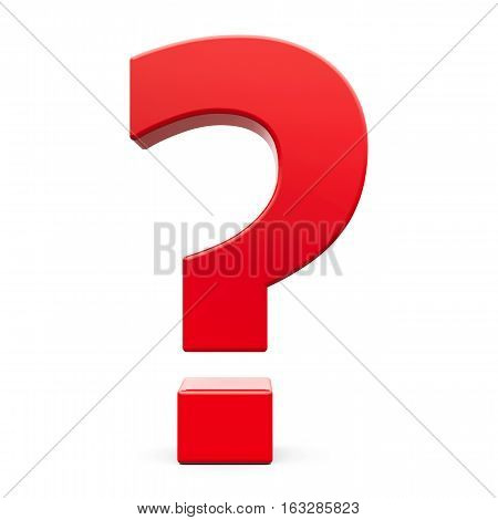Red Question mark sign isolated on white background three-dimensional rendering 3D illustration