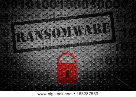 Ransomware text with red lock -- cyber crime concept
