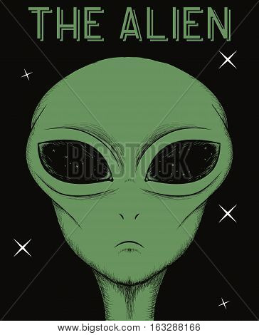 Face of green alien isolated on black background.Vector illustration