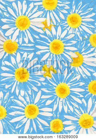 White camomiles ox-eye daisy on blue, illustration.