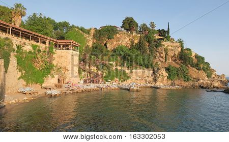 Beautiful Mermerli Beach and Restaurant in the Oldtown of Antalya, Kaleici, near the Harbour and City Walls