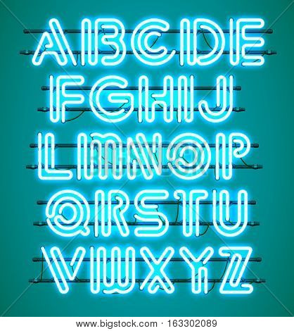 Glowing blue Neon Alphabet with letters from A to Z. Shining and glowing neon effect. Every letter is separate unit with wires tubes brackets and holders.