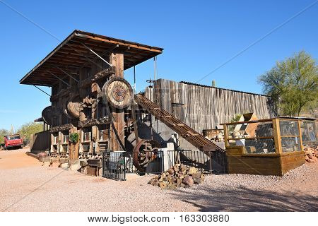APACHE JUNCTION AZ - DECEMBER 8 2016: Twenty Stamp Ore Crusher at the Superstition Mountain Museum Apache Junction Arizona.