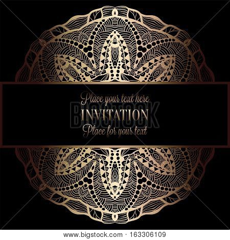 Abstract Background With Antique, Luxury Black And Gold Vintage Frame, Victorian Banner, Damask Flor