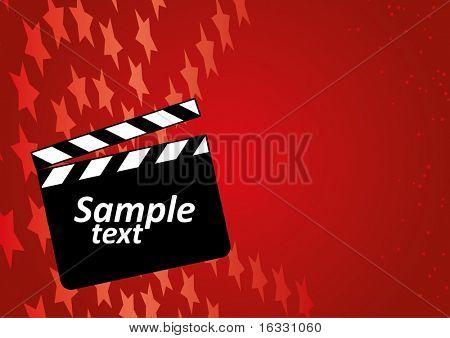 Open clapboard on red background.