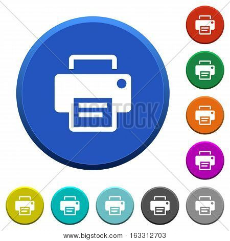 Printer round color beveled buttons with smooth surfaces and flat white icons