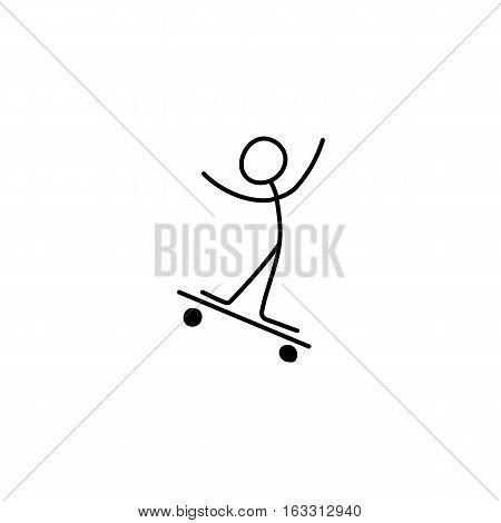 Stick figure man skating on skateboard icon