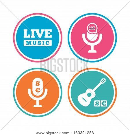Musical elements icons. Microphone and Live music symbols. Paid music and acoustic guitar signs. Colored circle buttons. Vector