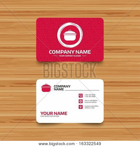 Business card template with texture. Cooking pan sign icon. Boil or stew food symbol. Phone, web and location icons. Visiting card  Vector