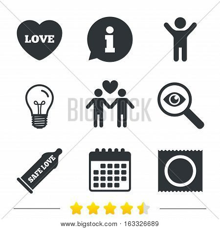 Condom safe sex icons. Lovers Gay couple signs. Male love male. Heart symbol. Information, light bulb and calendar icons. Investigate magnifier. Vector