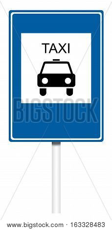 Informative sign isolated on white illustration - Taxi