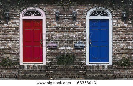 Red Door Blue Door - entrances to apartments