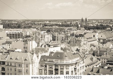 Poznan, Poland - June 28, 2016: Black And White Photo, View On Old Or Modern Buildings In Town Pozna