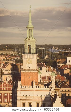 Poznan, Poland - August 30, 2016: Vintage Photo, Town Hall, Old And Modern Buildings At Sunset In Ci