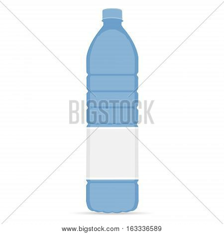 Vector illustration bottle with mineral water. Bottle with label. Water bottle isolated drinking water.