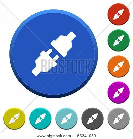 Unplugged power connectors round color beveled buttons with smooth surfaces and flat white icons