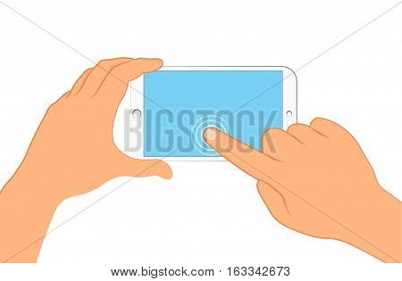 Hand holding smartphone. Sign in page on phone screen. Vector illustration eps 10 isolated on background