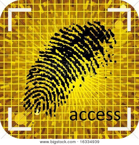 Black fingerprint with grid yellow background