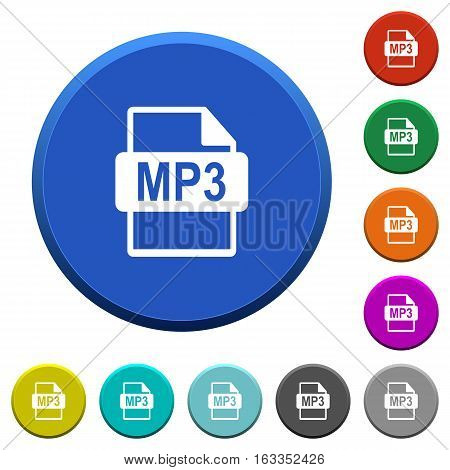 MP3 file format round color beveled buttons with smooth surfaces and flat white icons