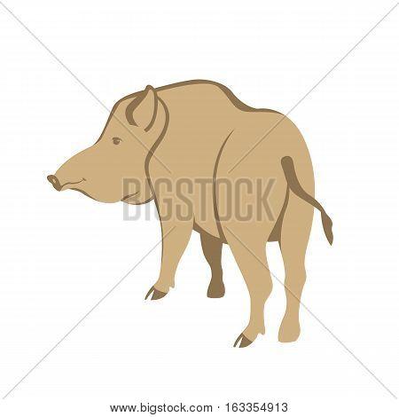 Wild boar vector illustration style Flat side