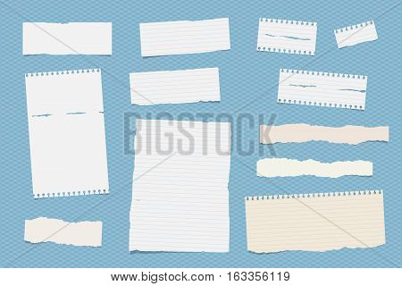 White ruled note, notebook, copybook paper sheets stuck on blue squared pattern.