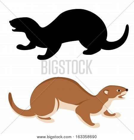 ermine vector illustration style Flat set silhouette