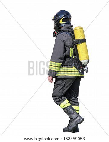 Fireman With Oxygen Tank To Breathe During Fire