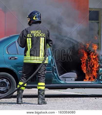 Italian Fire Brigade Extinguished The Car Fire After The Car Acc