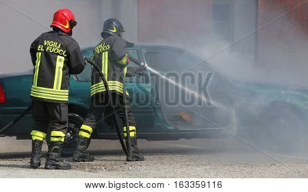 Italian Firemen Extinguished The Car Fire After The Car Accident