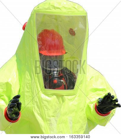 Person With Protective Yellow Suit