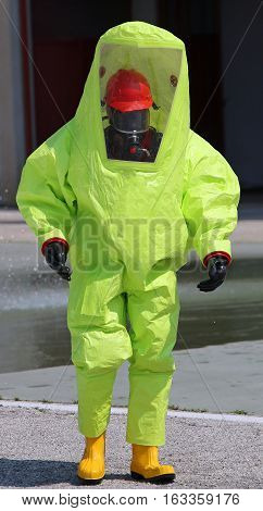Person With Great Yellow Suit Against Biological Risk